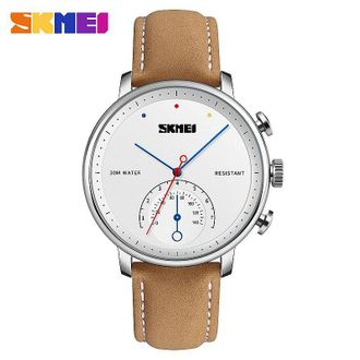 Skmei 1399 Business Alloy Case Waterproof Wristwatch Quartz Watch Men Fashion Simple Watch Leather Strap Watches