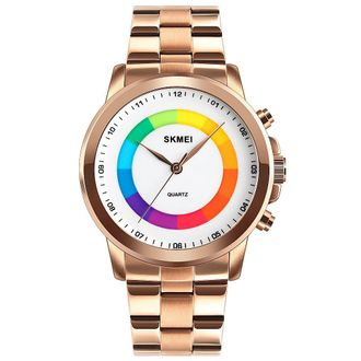 Skmei 1491 Colorful Dial Waterproof Quartz Watches LED Light Men Watch Fashion Simple Men Quartz Wristwatches