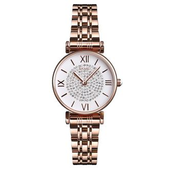 Skmei  1533 Quartz Waterproof Ladies Dress Watch Elegant Women Casual Rehinestone Watches Steel Strap